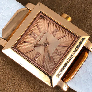 Sharp Vince Camuto Rose Gold White Strap Watch